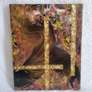 16x20 Mixed Media Painting with Gold Leaf, Resin
